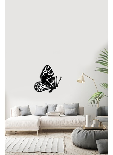 Angemiel Home Su Sineği Kelebek Pleksi Duvar Saati Siyah